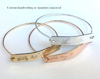 ON SALE Actual Handwritten Bracelet  Custom Handwriting Bangle / Signature Bracelet / Personalized engraved bracelet / Memorial handwriting