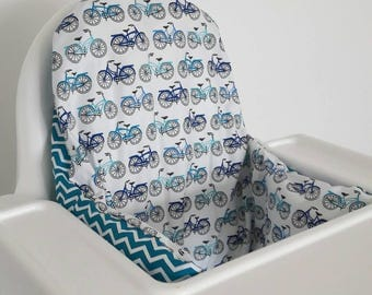 Antilop IKEA highchair cushion cover - cushion cover only - blue bicycle bike cycle chevron cotton  highchair cushion cover MADE to ORDER