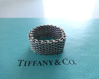 Authentic Tiffany & Co. Somerset Mesh Sterling Silver Band Ring Size 10.5