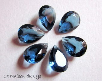 6 non-pierced imitation Sapphire 10mm x 14mm faceted glass drops