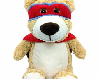 Personalized Super Hero Bear, Superhero Bear Cubby, birth Announcement, 1st birthday gift