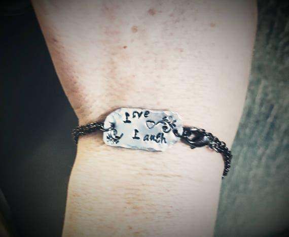 Love,  Laugh - Stamped Metal Mantra Bracelet