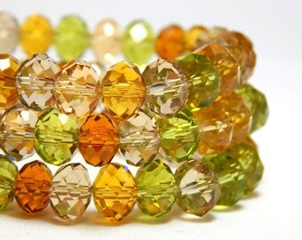 Fall Colors Beads, Crystal Rondelles 8x5mm, Multi-Color Crystal Beads, Green Crystals, Topaz Crystals, Golden Crystals, Glass Beads D-C16
