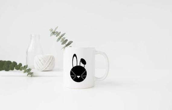 Bunny Mug, Holiday Bunny Mug, Rabbit Mug, Black and White Bunny, Christmas Mug, Christmas Bunny