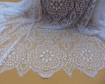white Chantilly wedding Lace Fabric sell by yard, pure white lace for Bridal Gowns, Mantilla  Veils,snow white eyelash lace