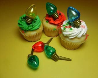12 Christmas Light Bulb Cupcake PICKS Toppers Party Favors Cake Decorations