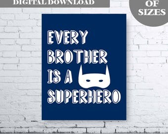 Every Brother is a Superhero - Digital Download - Navy Superhero Printable. Navy Brother Bedroom Art.  Boys Bedroom Art. Boys Bedroom Print.