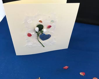 Sympathy card; handcrafted card with roses and quote charm 'if love could have saved you, you would have lived forever'
