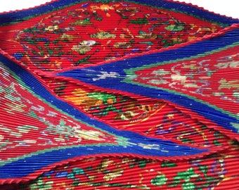 HERMES Pierres d'Orient et d'Occident Plisse Silk Scarf 1998.