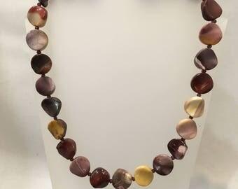 Mookite and garnet bead necklace