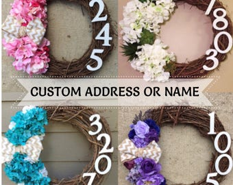 PREORDER Grapevine Address Wreath - CUSTOM Personalized Name or House Address Floral Grapevine Wreath With Ribbon