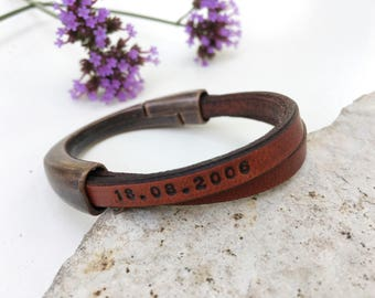 Personalized Leather Copper Bracelet - Womans Bangle - Custom Engraved Bracelet - Anniversary Leather and Metal Bracelet- Family Jewelry