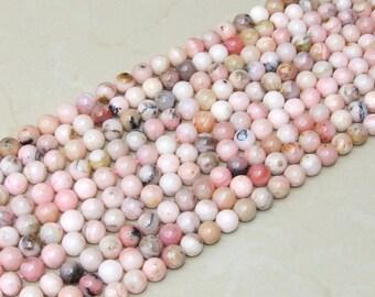 Pink Peruvian Opal Smooth Polished Bead - Pink Opal Bead - Peruvian Pink Opal - Half Strand - 8mm