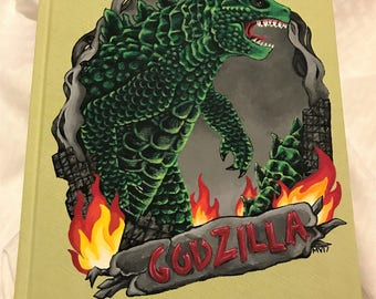 "Godzilla Hand-Painted 8.5"" x 11"" Sketchbook, Light Green Blank Sktechbook"