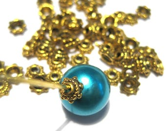 100pcs Antique Gold small Bead Caps, 5x2mm Jewelry Supplies
