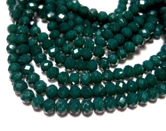 1 Strand Green Faceted Rondelle Glass Beads 4x3mm ( No.15)