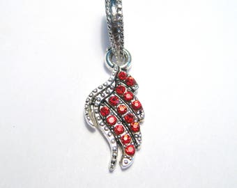 Antique Silver Red Rhinestone Wing Dangle Pendant Bail charms Pendant