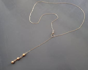 Solid Gold Necklace, Solid Gold Lariat Necklace, 14kt Solid Gold Choker, 18kt Solid Gold Bead Pendant, Handmade