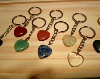 Heart Shaped Gemstone Keyring