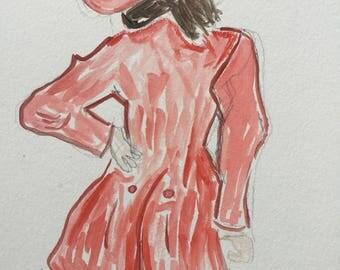 Original 7x10 Watercolor of A Woman Waiting