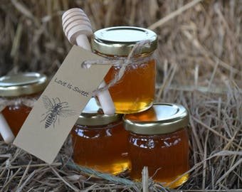 130 honey favors, tags, wood dippers, personalized tag, best seller, 1.5 oz jars with pure honey, twine, love is sweet, meant to bee