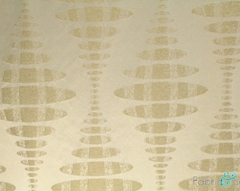 "Light Cream Beige and Taupe Oval Print Upholstery Fabric Polyester Rayon Medium 2418 55"" APOLLO"
