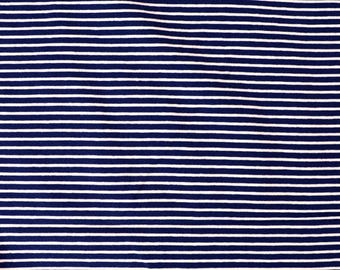Fabric - cotton/elastane medium weight striped jersey fabric - navy/white - knit fabric.