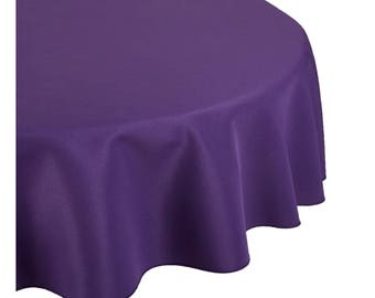Purple Round Wedding Linentablecloth 120 Inch Round Banquet Polyester Cloth, Wrinkle Resistant Quality Tablecloth For Special Event Or Party