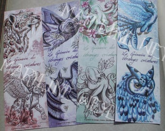 "Bookmark ""book of strange creatures"" set of 4"