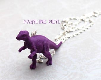 Silver necklace Purple dinosaur