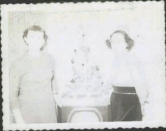 Vintage 1950s B&W Snapshot Photo Woman Television Christmas Tree Washed Out