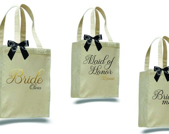 set of 7 bridesmaid totes, bridesmaid gift, personalized tote, canvas tote, bridesmaid bag, ob801