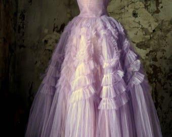 lovely vintage lavender tulle dress prom