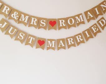 Wedding buntings, Personalised mr and mrs bunting, Just married bunting