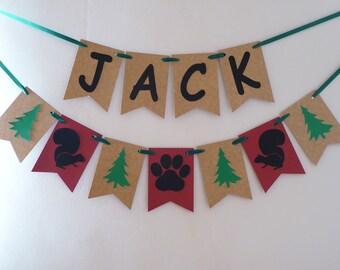 Personalised bunting, wild one woodland Lumberjack birthday, baby shower, Woodland nursery