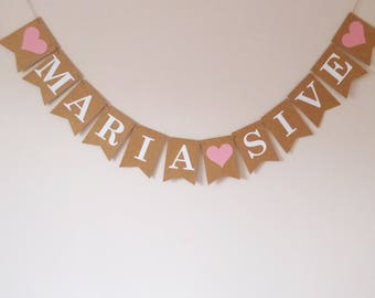 Personalised wedding bunting banner decoration, engagement party, same sex wedding