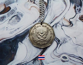 Thai 5 Baht (1972) Handmade Silver Coin Necklace - Silver Plated Chain.
