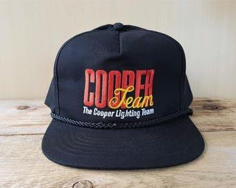 The COOPER Lighting Team Original Vintage 90s Black Promo Snapback Hat Rope Lined Embroidered Adjustable Cap Headline Headwear