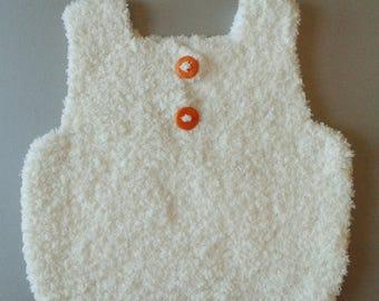 Docker baby birth in 24 months hand-knitted in ecru polyamide