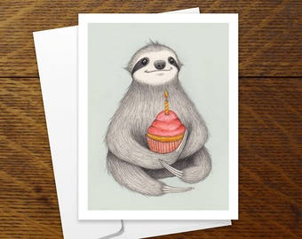 Birthday Sloth card illustration