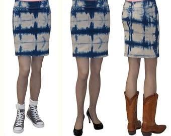 Baby'O Women's Tie Dye Stretch Denim Mini Skirt - Stone Blue