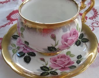 BEAUTIFUL TAYLOR & KENT Cup and Saucer.  Bone China. Made in England.  Heavy Gold Trim.  Cabbage Roses