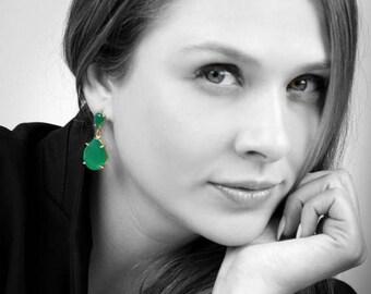 SUMMER SALE - Green onyx earrings,prong earrings,gemstone earrings,dangle earrings,gold earrings,teardrop earrings,statement earring