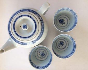 Vintage Chinese Rice Grain Porcelain Teapot plus 3 cups teas