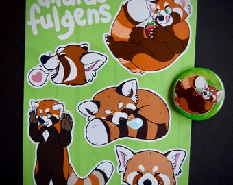 Red Panda Bundle (Stickers+Button)