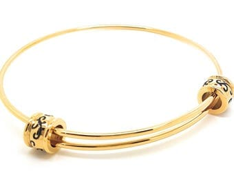Expandable Bangle Gold Filigree Bead Gift Box Included elegant  timeless bangle