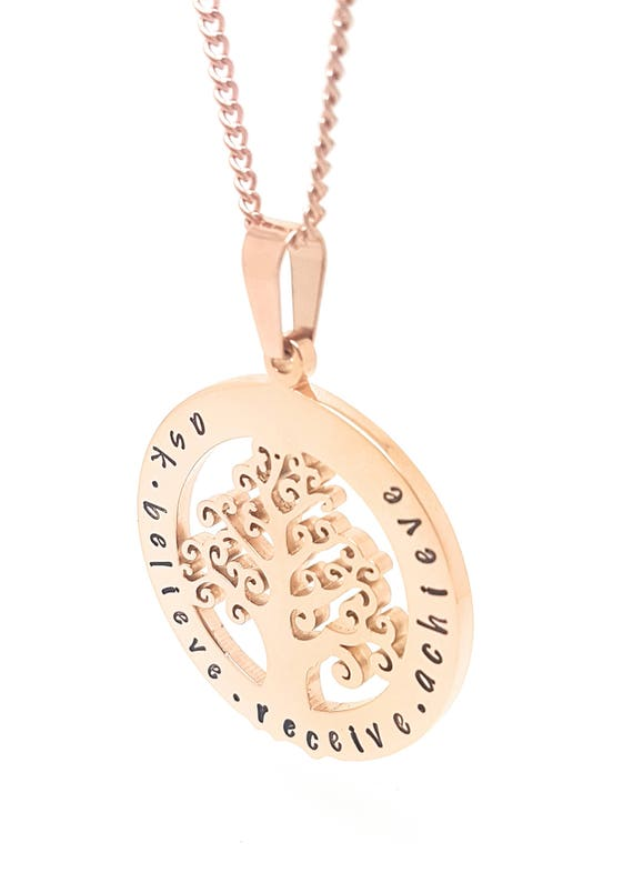 Family names tree of life pendant personalised jewellery hand family names tree of life pendant personalised jewellery hand stamped name necklaces rose gold family name pendants tree of life australia aloadofball Image collections