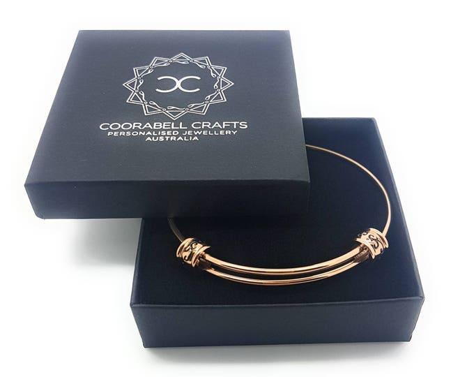 Expandable Bangle Bracelet Silver Gold or Rose Gold Filigree Bead