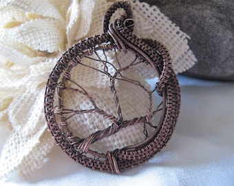 Handmade Large Copper Wire Wrapped Tree of Live Pendant Necklace