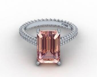 Emerald Cut Morganite Engagement Ring 12x8mm Morganite Eternity Ring Prong Set 1.07ct Diamonds Heirloom white gold ring pristine custom ring
